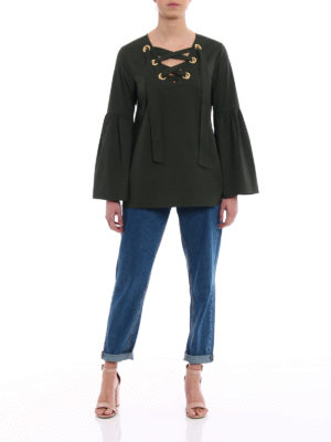 Michael Kors: blouses online - Bell sleeved cotton blouse