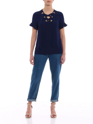 Michael Kors: blouses online - Blue crepe blouse with laces