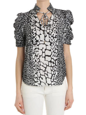 Michael Kors: blouses online - Bow detailed two-tone silk blouse
