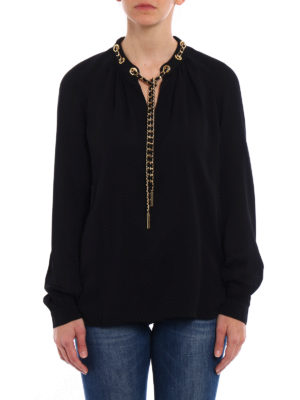 Michael Kors: blouses online - Chain detailed black silk blouse