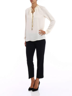 Michael Kors: blouses online - Chain detailed bone silk blouse