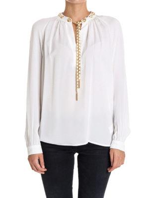 Michael Kors: blouses online - Chain detailed white silk blouse