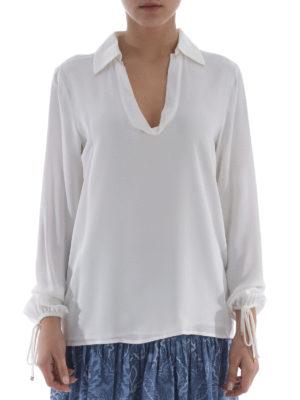 Michael Kors: blouses online - Cuff drawstrings silk blouse