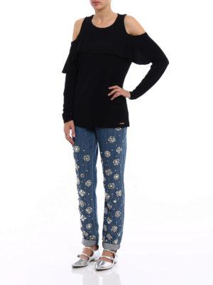 Michael Kors: blouses online - Cut-out flounced jersey blouse