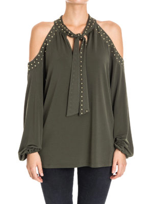 Michael Kors: blouses online - Cut-out shoulders studded blouse