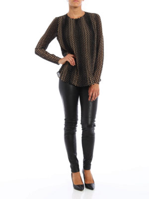 Michael Kors: blouses online - Dot print chiffon pleated blouse