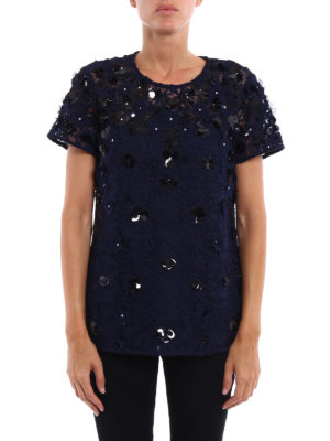 Michael Kors: blouses online - Embellished lace and tulle blouse