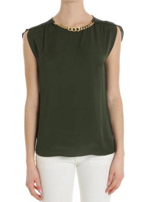 Michael Kors: blouses online - Gold-tone chain detail silk blouse