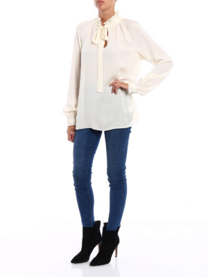 Michael Kors: blouses online - Silk gathered collar blouse