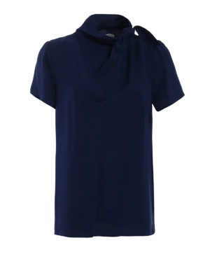 Michael Kors: blouses - Pussy bow true navy silk blouse