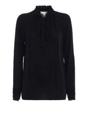 Michael Kors: blouses - Silk gathered collar blouse