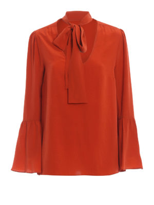 MICHAEL KORS: blouses - Silk pussy bow fastening blouse