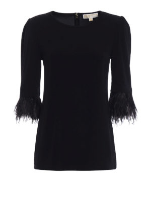 Michael Kors: blouses - Viscose feather detailed blouse