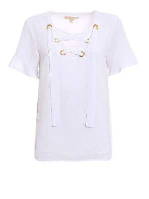 Michael Kors: blouses - White crepe blouse with laces