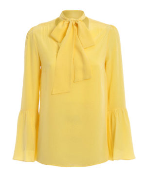 MICHAEL KORS: blouses - Yellow silk pussy bow fastening blouse