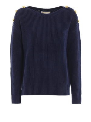 MICHAEL KORS: maglia collo a barchetta - Maglione blu a coste con bottoni dorati