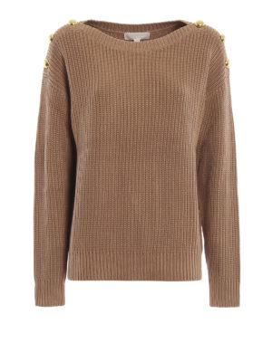 MICHAEL KORS: maglia collo a barchetta - Maglione cammello a coste con bottoni dorati
