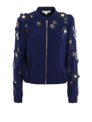 Michael Kors: bombers - 3D flower embellished cady jacket