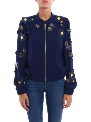 Michael Kors: bombers online - 3D flower embellished cady jacket