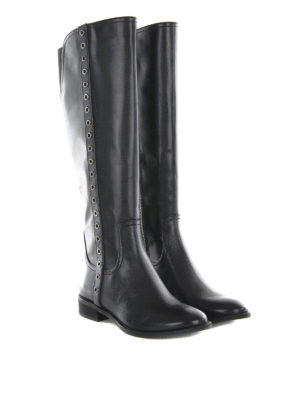 Michael Kors: boots online - EYELETS DETAILED LEATHER BOOTS