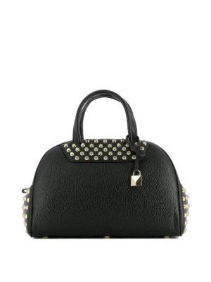 Michael Kors: bowling bags - Austin black leather bowling bag