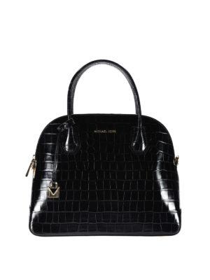 Michael Kors: bowling bags - Mercer croco print black handbag