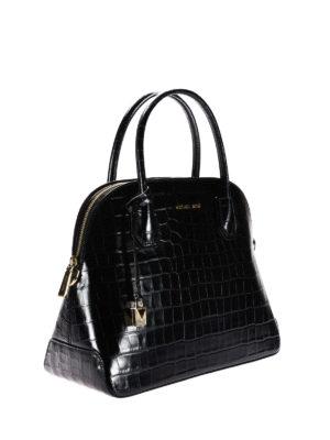 Michael Kors: bowling bags online - Mercer croco print black handbag