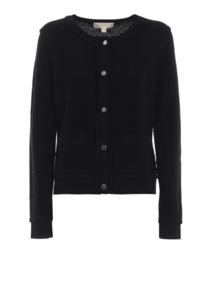 MICHAEL KORS: cardigan - Cardigan nero in maglia di lana a nido d'ape