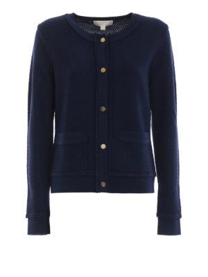 MICHAEL KORS: cardigan - Cardigan blu in maglia di lana a nido d'ape