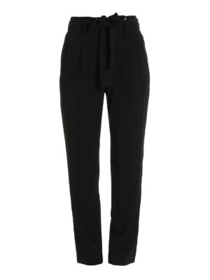 Michael Kors: casual trousers - Belt detailed cady trousers