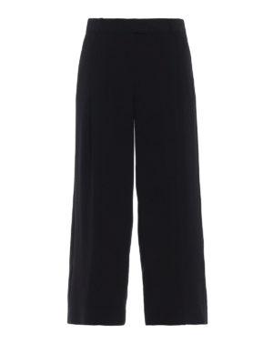 MICHAEL KORS: pantaloni casual - Pantaloni crop neri in cady a gamba larga
