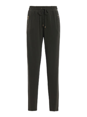 Michael Kors: casual trousers - Dark green viscose jersey trousers