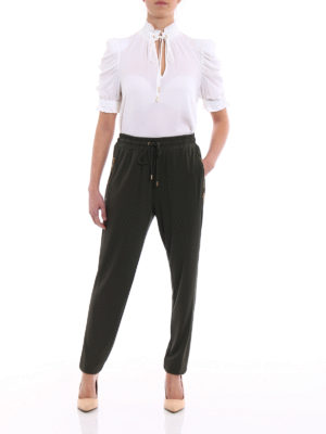 Michael Kors: casual trousers online - Dark green viscose jersey trousers