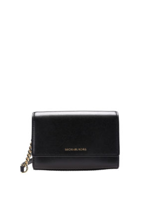 Michael Kors: clutches - Foldover black leather clutch