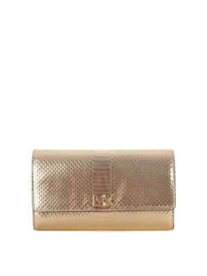 Michael Kors: clutches - Mott laminated leather embossed bag