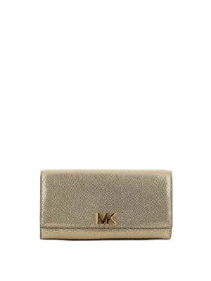 MICHAEL KORS: pochette - Clutch Mott in pelle oro con logo MK