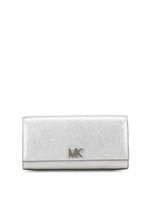 Michael Kors: clutches - Mott silver leather envelope clutch