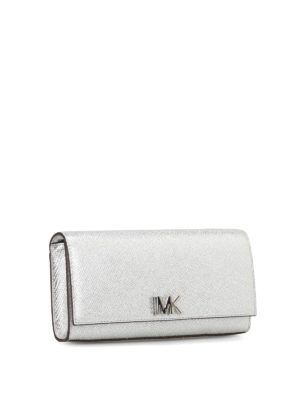 Michael Kors: clutches online - Mott silver leather envelope clutch