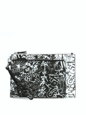 MICHAEL KORS: pochette - Buste in pelle con graffiti Travel Duo