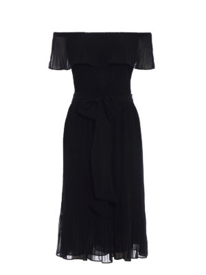 Michael Kors: cocktail dresses - Black pleated chiffon dress