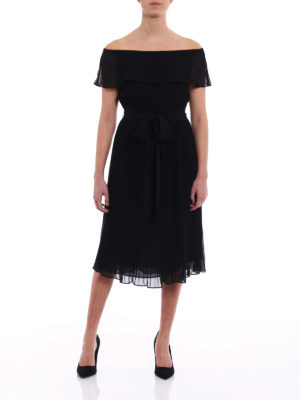 Michael Kors: cocktail dresses online - Black pleated chiffon dress