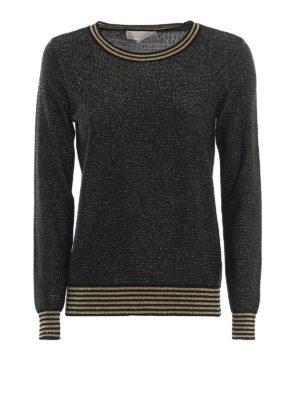 MICHAEL KORS: maglia collo rotondo - Maglia in viscosa e lurex nero e oro