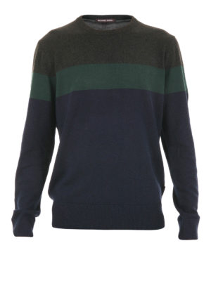 Michael Kors: crew necks - Colour block wool blend crewneck