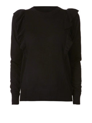 MICHAEL KORS: maglia collo rotondo - Girocollo in misto cashmere con balze