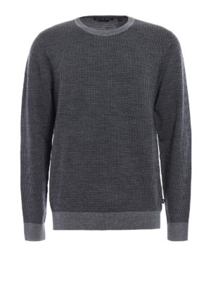 Michael Kors: crew necks - Houndstooth merino wool sweater