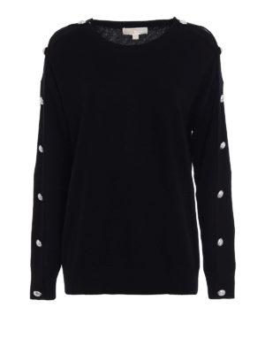 Michael Kors: crew necks - Jewel detail sleeve black sweater