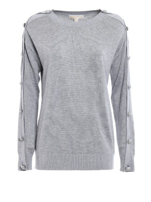 Michael Kors: crew necks - Jewel detail sleeve pearl sweater