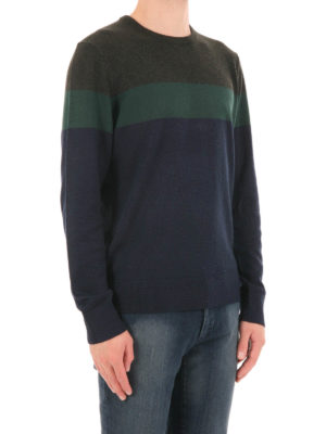 Michael Kors: crew necks online - Colour block wool blend crewneck