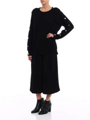Michael Kors: crew necks online - Jewel detail sleeve black sweater