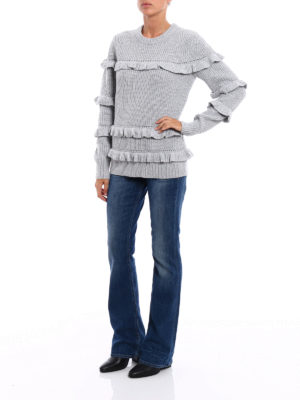 Michael Kors: crew necks online - Wool blend frilled sweater